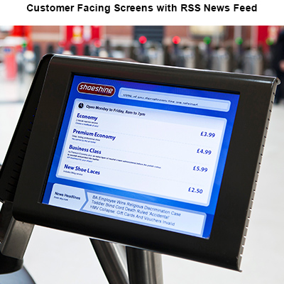 Customer Facing Screens with RSS News Feed